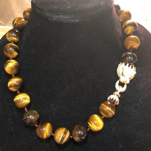 Gorgeous Tiger Eye Necklace wth Huge CZ Pave